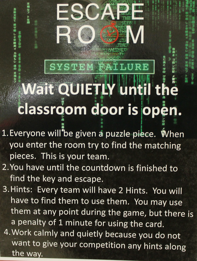 Sign on outside of Escape Room