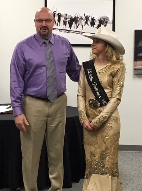 Jentri Haivala, 2018 National Little Britches Rodeo Association Princess at December 2017 Board Meeting