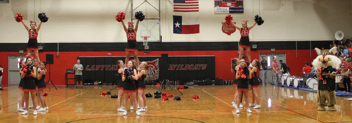 Cheerleaders showing off at the Pep-Rally