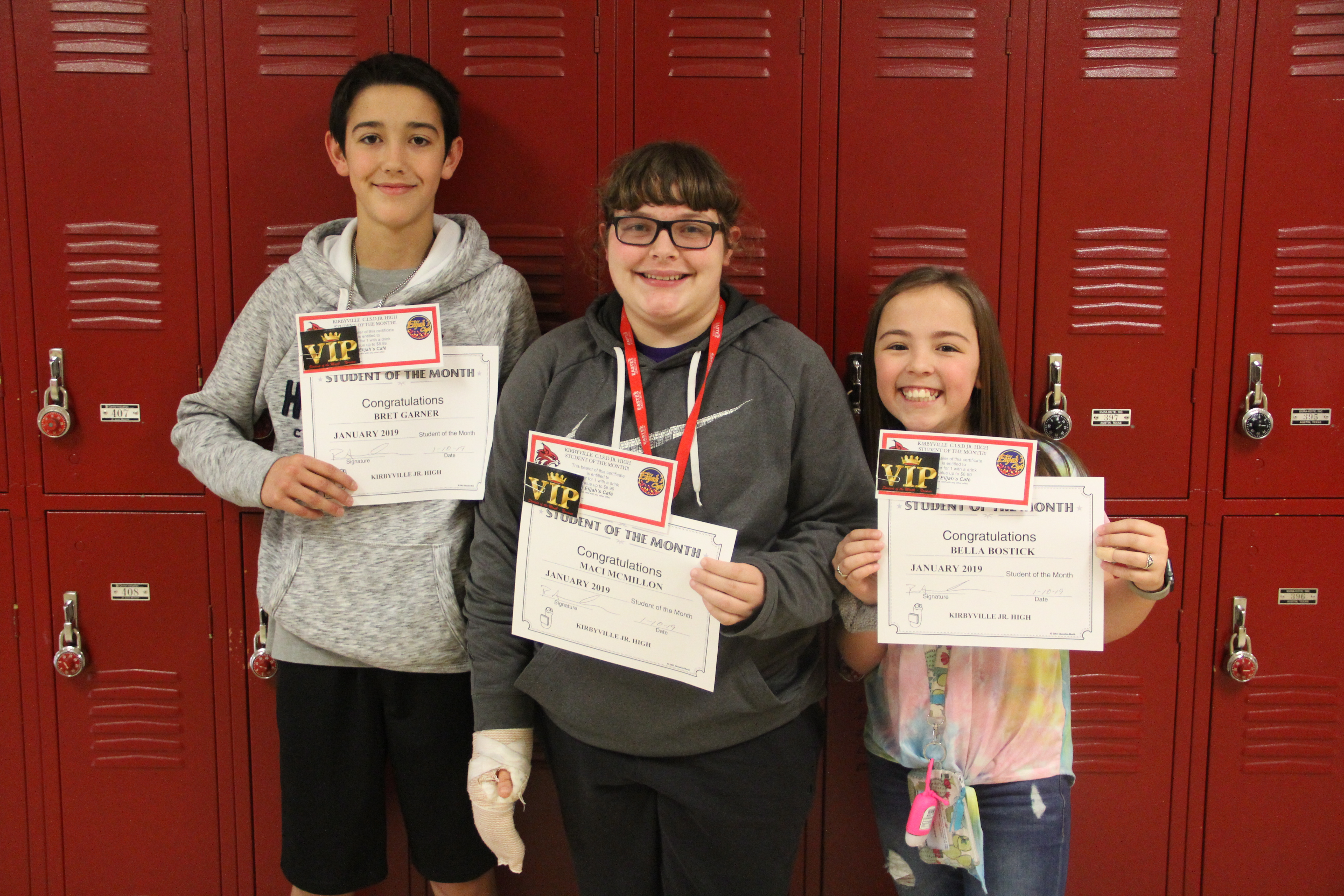 Congratulations to our January Students of the Month! Good job Maci McMillon 8th grade, Brent Garner 7th grade and Bella Bostick 6th grade.