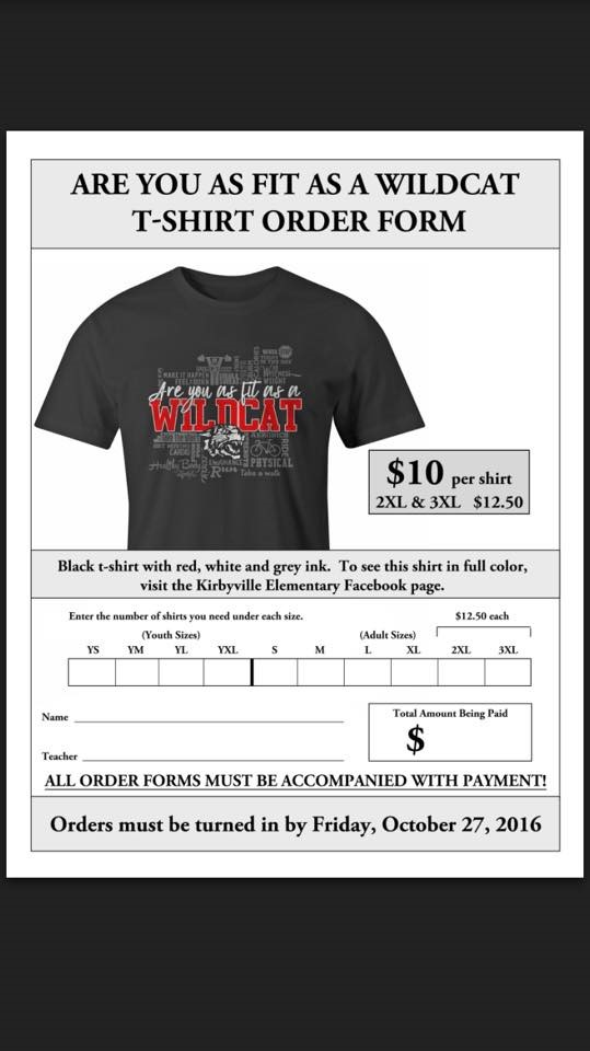 Are You as Fit as a Wildcat? - Kirbyville Elementary T Shirt Order Form Templatefor Elementary on